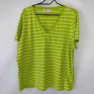 Michael Kors Green and White  V Neck T Shirt